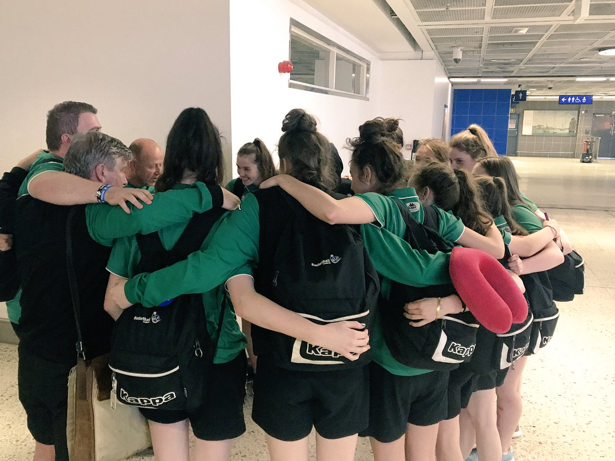 After 22 months... Ireland U16 women are having their last team talk of the programme as they land at @DublinAirport  #FIBAU16Europe pic.twitter.com/ofY5xYxURG