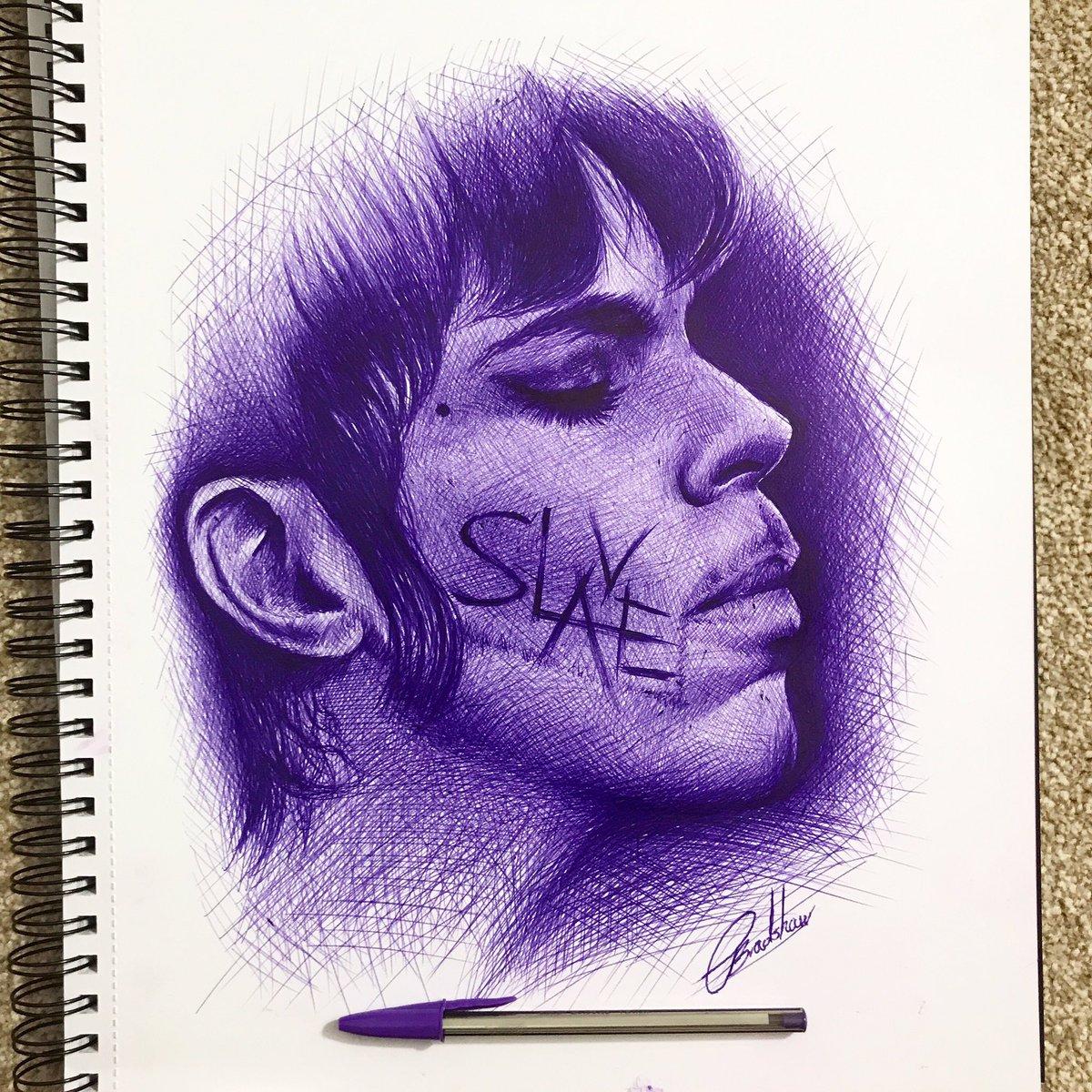 Purple ink sketch of #Prince. #ballpointpen #inksketch #ink #purplerain https://t.co/Vgs1N1i4Ye