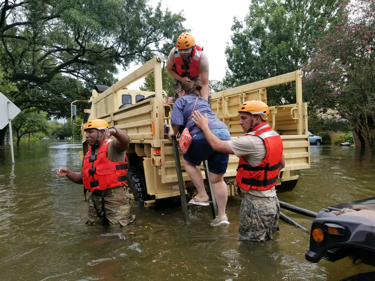 MT @TXMilitary: #Texas #NationalGuard rescues #Texans in flooded areas around #Houston. #Harvey #houstonflood https://t.co/hbYBwpcaFQ
