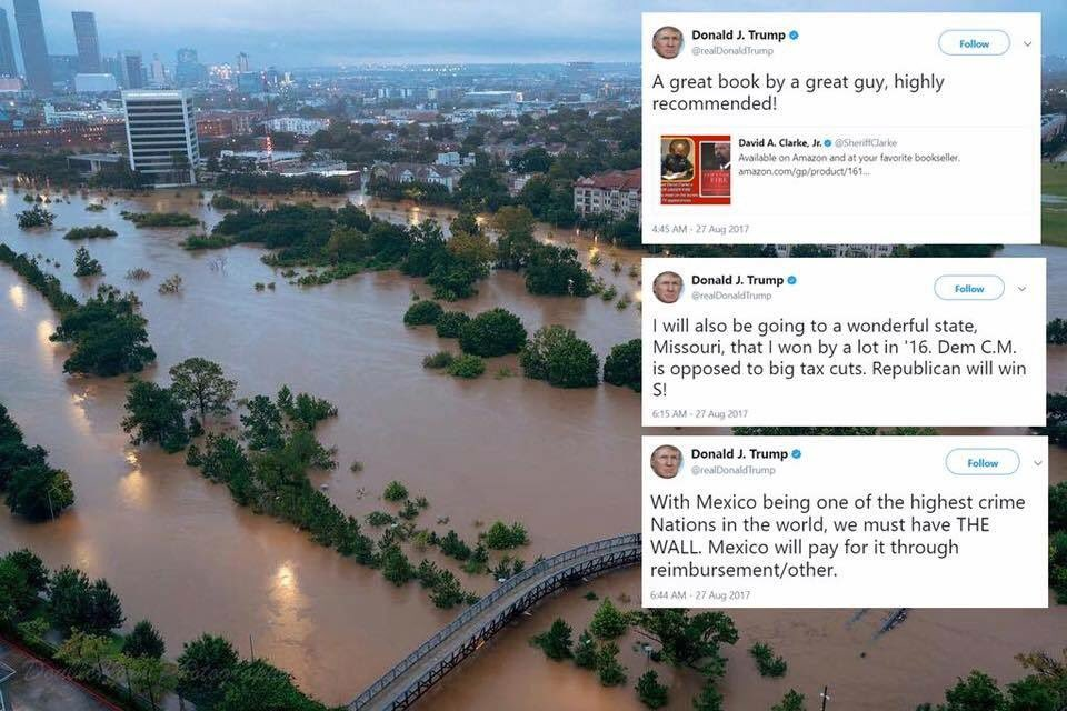 The president tweets while Houston sinks. https://t.co/mcngDiUXd5