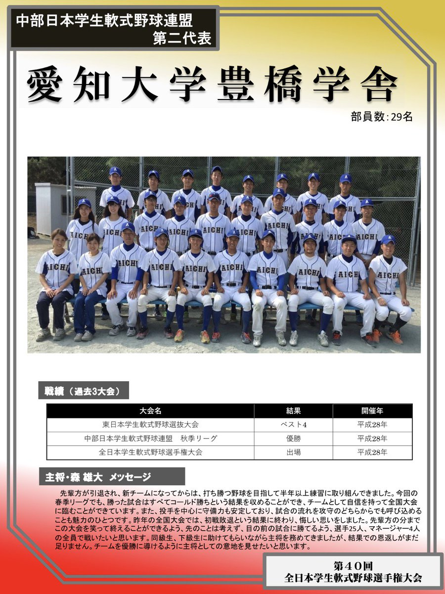 中部日本学生軟式野球連盟 hashtag on Twitter