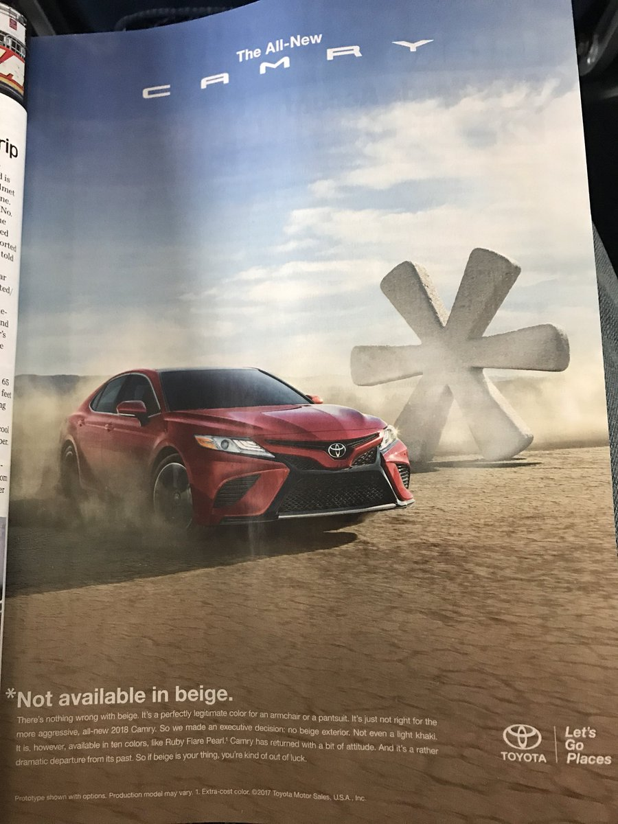 Really like this @Toyota ad - takes some guts to eliminate a popular color and make fun of yourself too. https://t.co/n1BxuSMdcr