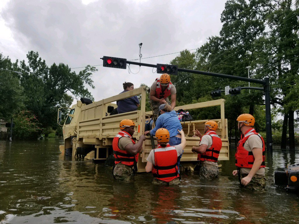 Thanks to the Texas National Guard for their help to rescue flooded Texans. #HurricaneHarvey