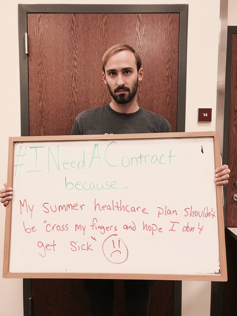 #INeedAContract because my summer healthcare plan shouldn&#39;t be &quot;cross my fingers and hope I don&#39;t get sick&quot;  --@geo_uiuc member #GradWorkers <br>http://pic.twitter.com/XYG5cjIPgS