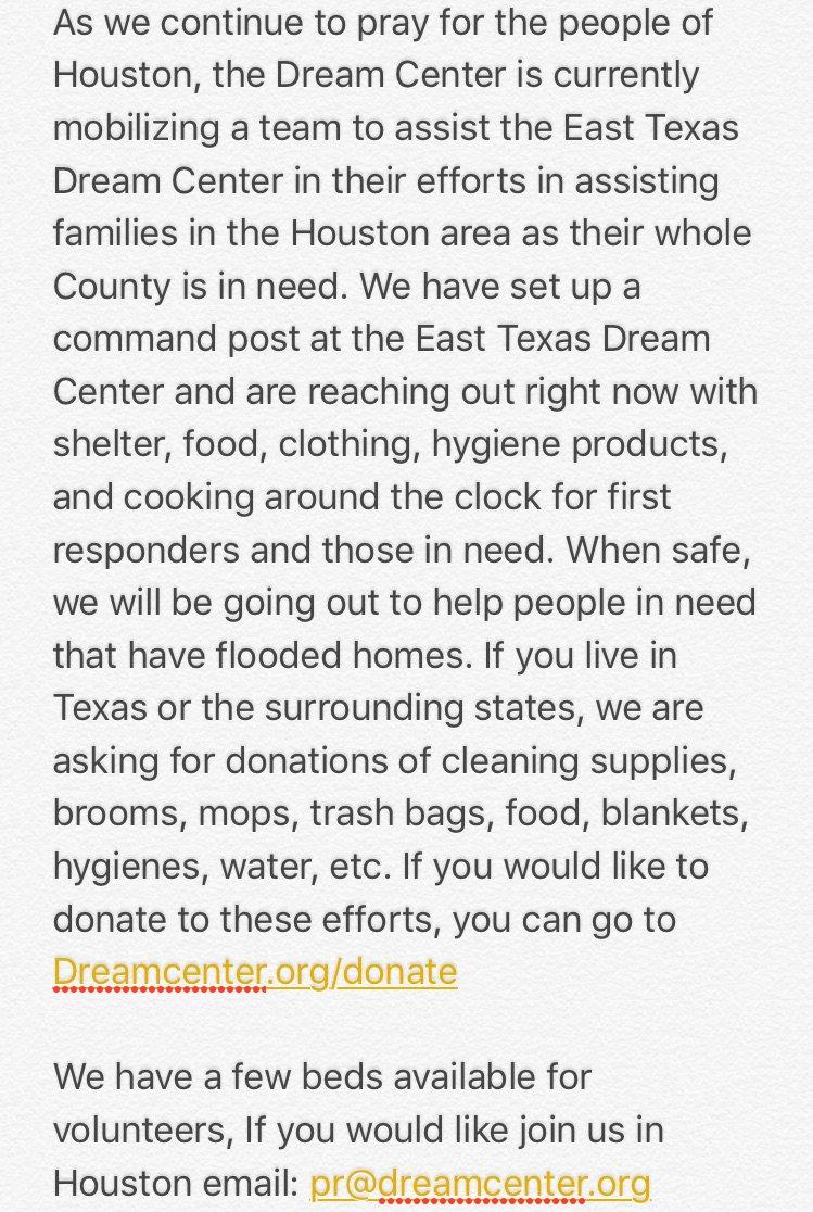 Join the @LADreamCenter's efforts in Houston. https://t.co/ZJ6WZteoMh
