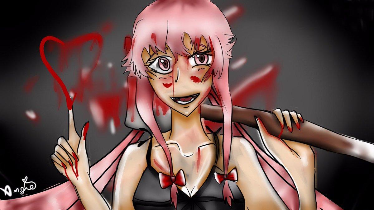 Angie On Twitter Yuno Gasai Yuno Gasai Yandere Digitaldrawing Killer Knife Blood