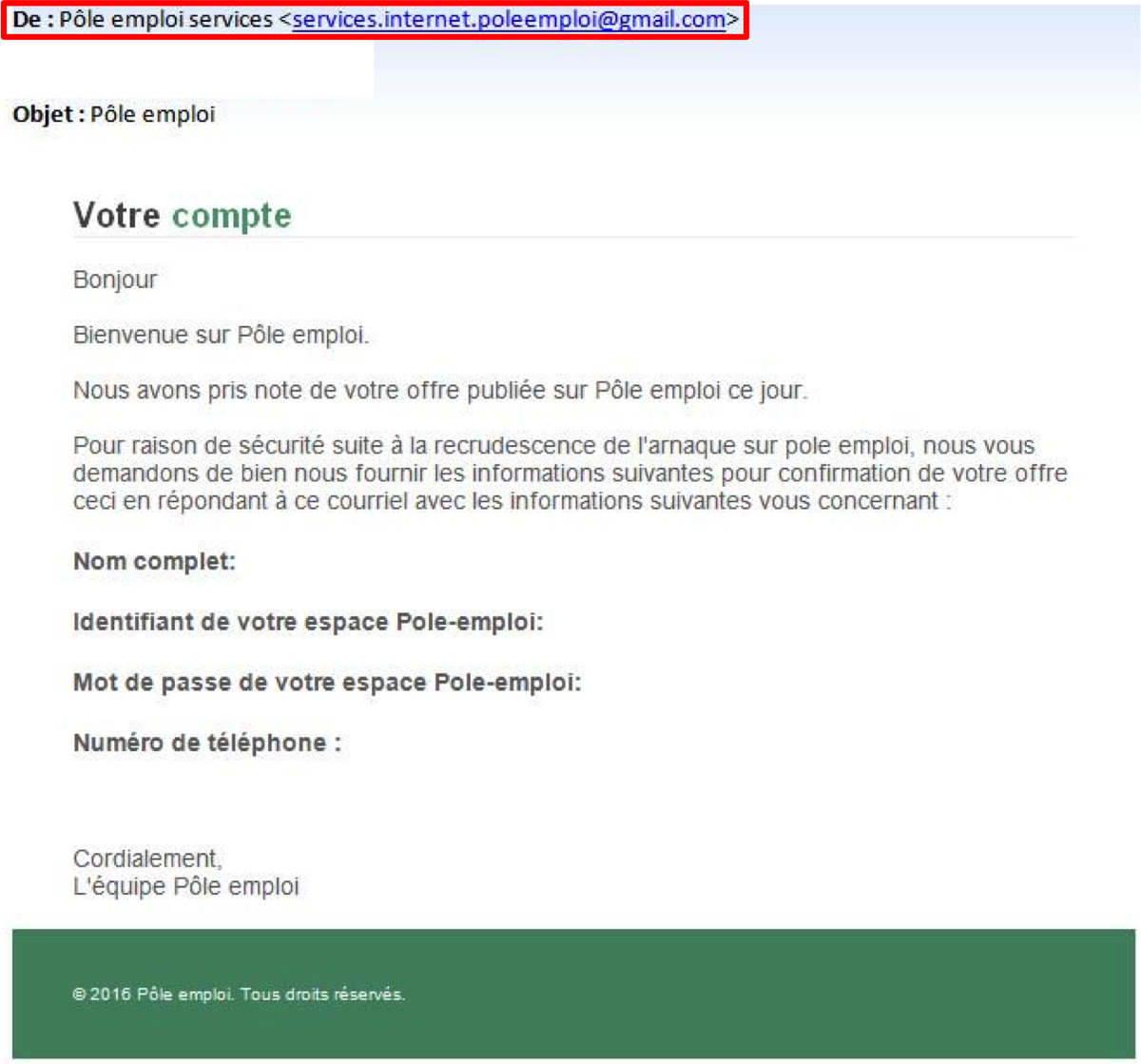 Pole Emploi On Twitter Alerte Phishing Usurpation