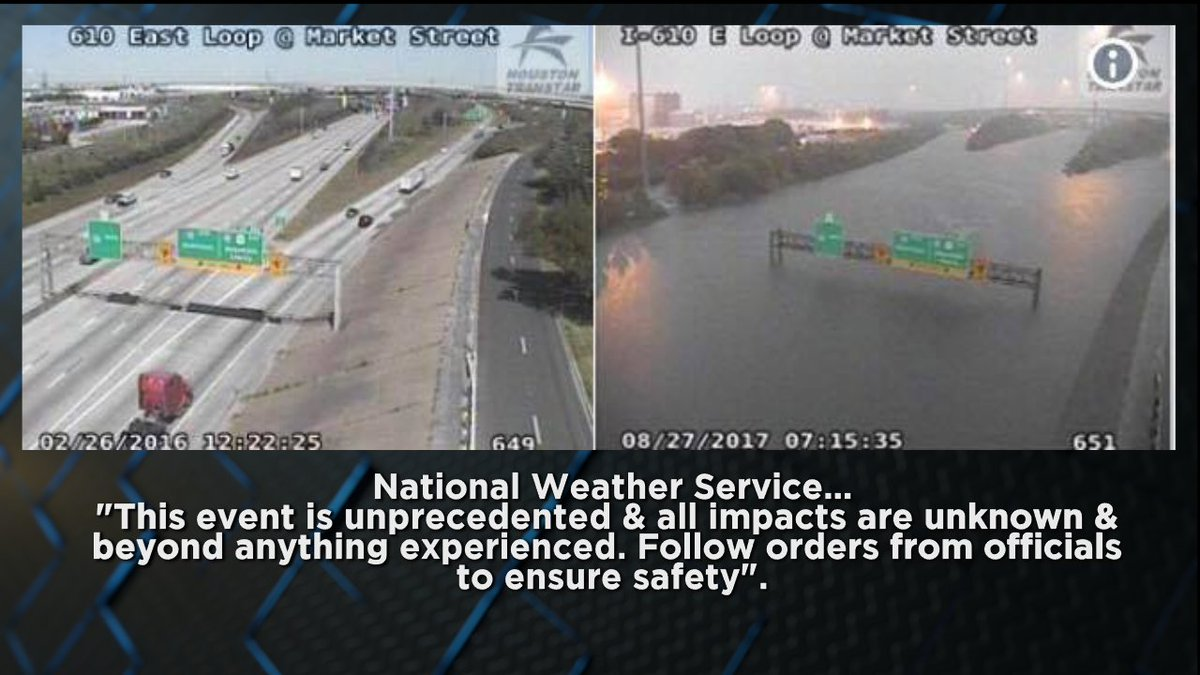 Speechless, a before and after picture of 800 year flooding taking place in Houston, Texas right now. https://t.co/OnUlC58G2w