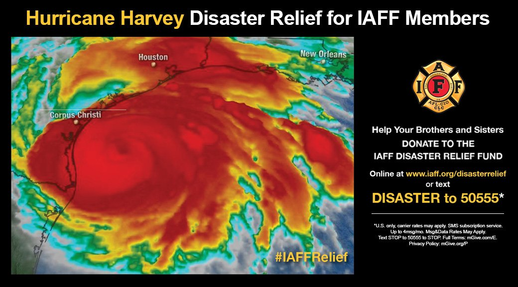 You can help #IAFF members working in the path of Hurricane #Harvey through the #IAFF Disaster Relief Fund https://t.co/TOPVCmRbSc