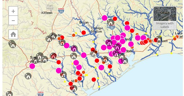 This map shows live flood gauge readings for dozens of points around Houston and available open shelters. https://t.co/IDIKvfVYyG