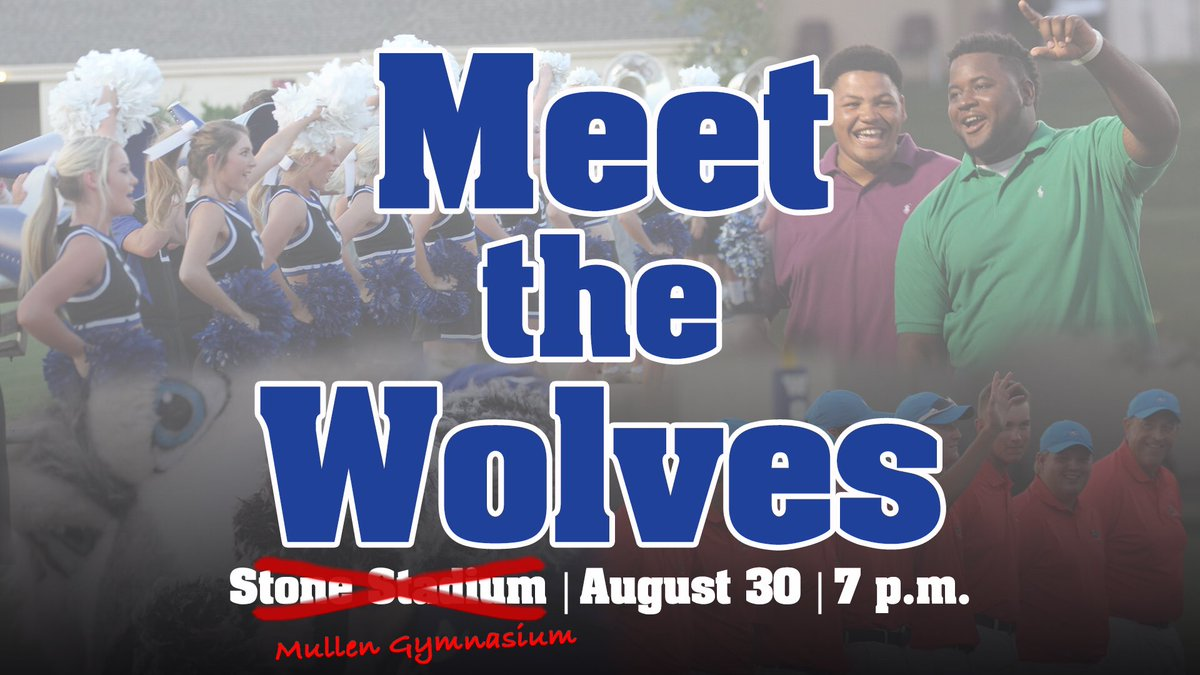 UPDATE: Due to possible rain, Meet the Wolves has been moved to Mullen Gymnasium! #BackThePack
