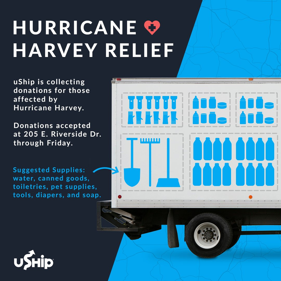 Austin, you can help! uShip is collecting donations through Friday #HoustonStrong #HarveyRelief https://t.co/0x0FhpJj3d