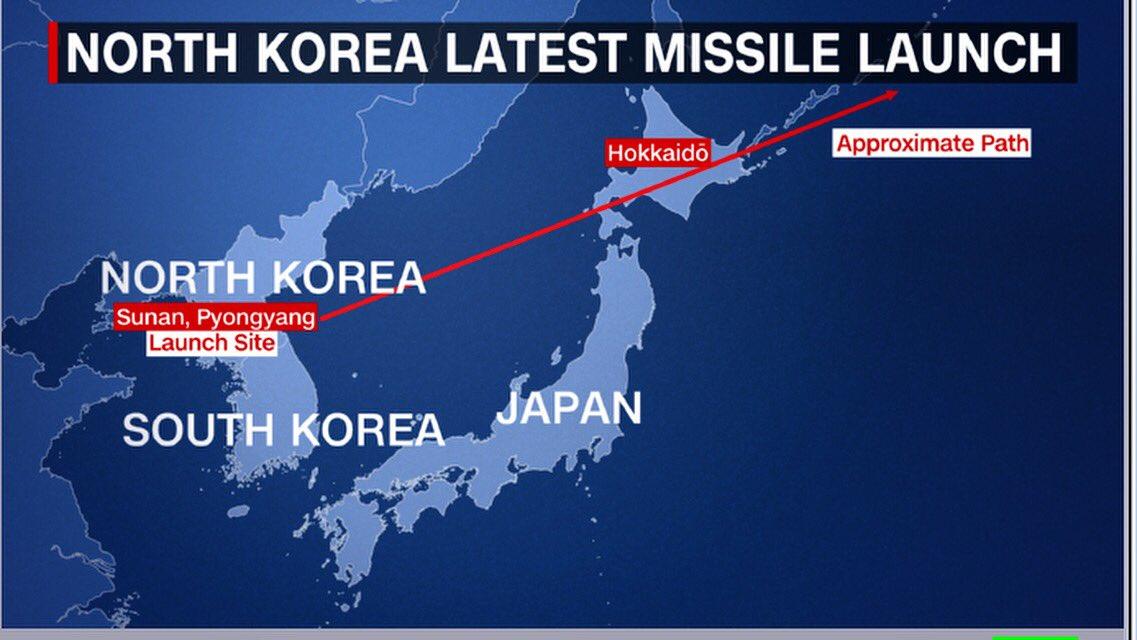 Trajektoria lotu pocisku z Korei wg CNN