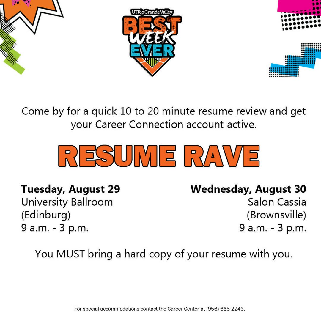 utrgv career center on twitter stop by to get your resume