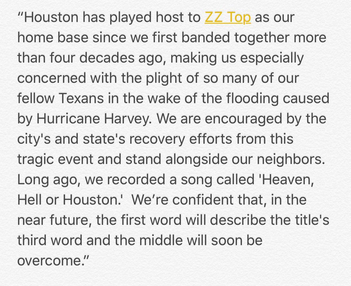A statement from ZZ Top regarding the Texas floods. https://t.co/DdkwNFNFRs