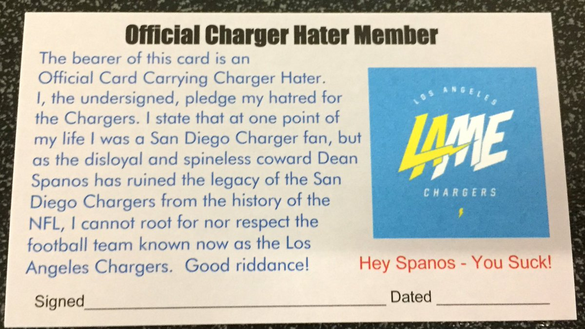 A #GreatFriend sent a box over with official Charger Hater Club Cards https://t.co/M9zUzOMMzV