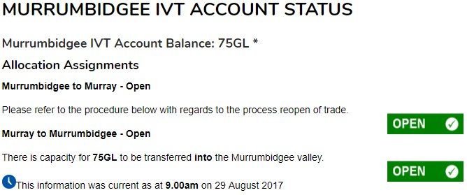 Movement in #IVT - one 7GL transfer from the Murrumbidgee to the Murray @H2OX_News @aithernews @WaterFinn @alisterwalsh @progressiveagri<br>http://pic.twitter.com/rCbAaNp2dV
