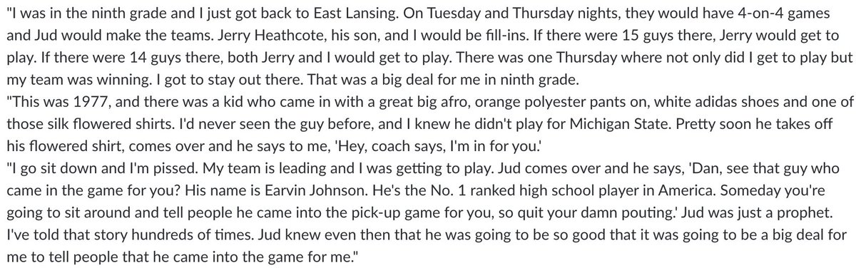 Dan Monson's best Jud Heathcote story is can't-miss. From when Monson's dad was Jud's assistant at Michigan State: https://t.co/Pv4qC94whN