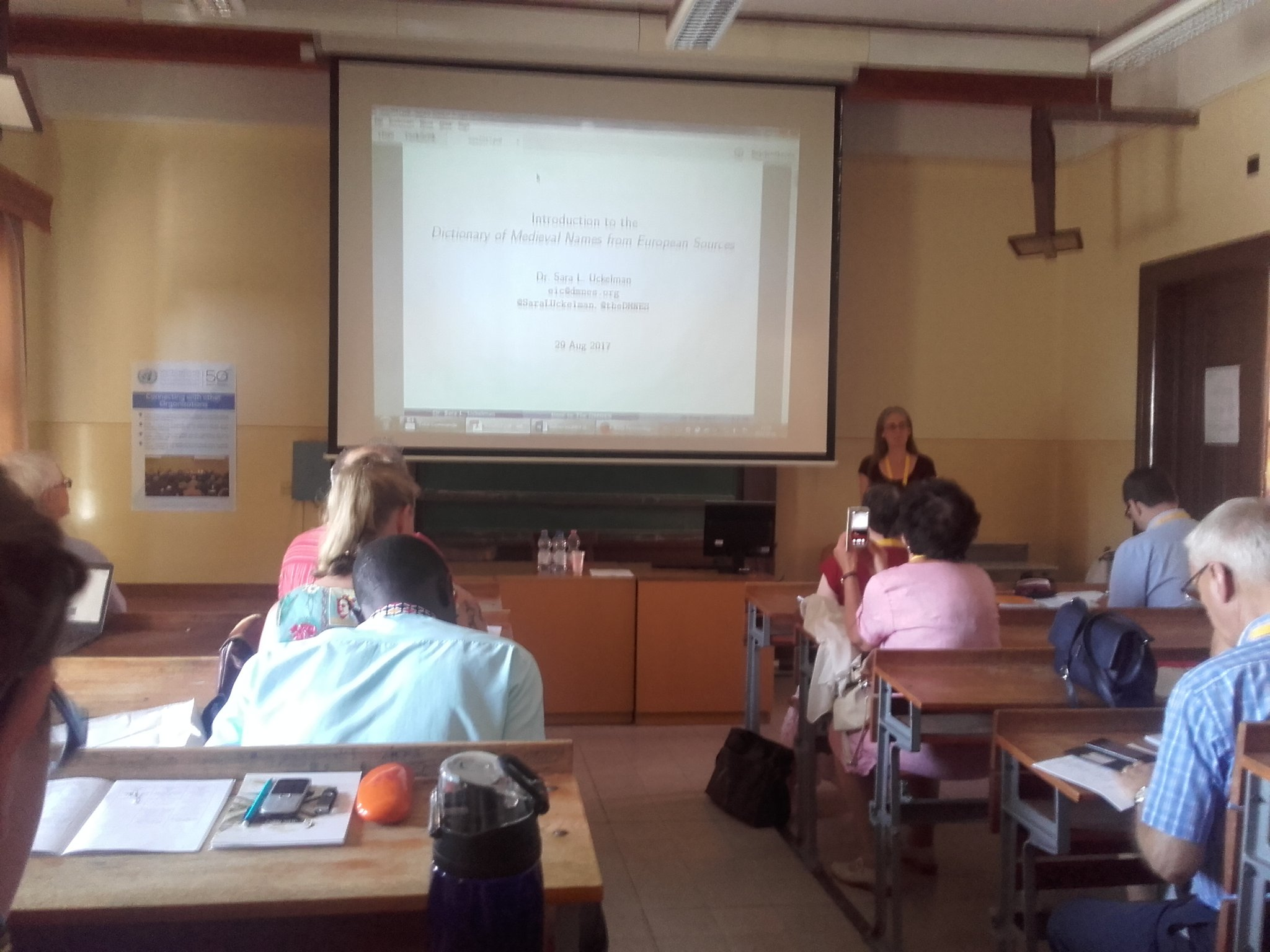 The mother of DMNES Sara Uckelman presents dictionary of medieaval names! #icos2017 #dmnes #onomastics https://t.co/ZX3NZwxHQw