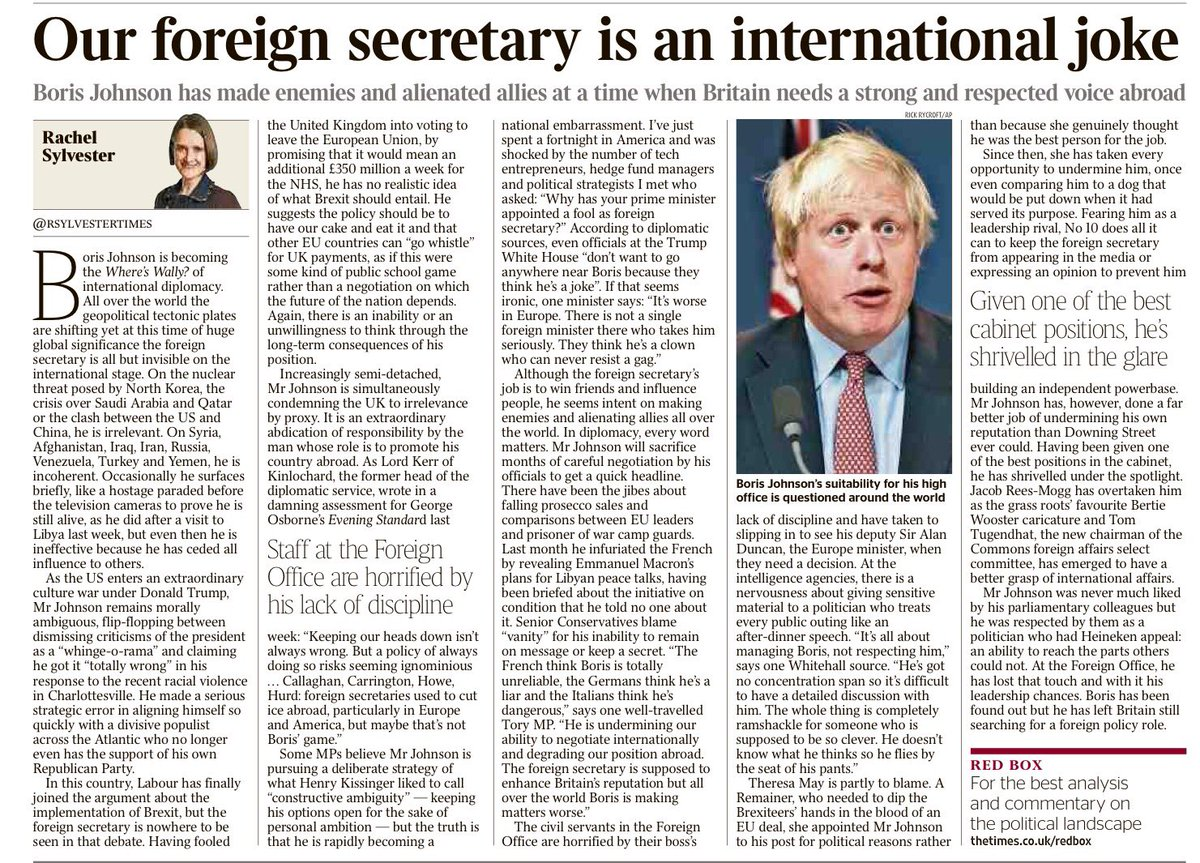 "Very good by @RSylvesterTimes - the ""International joke"" that is @BorisJohnson https://t.co/gbaWn5BWRg"