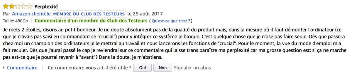 Les commentaires Amazon, c'est toujours un grand bonheur. Sur la fiche d'un SSD…