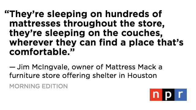 "Houston's ""Mattress Mack"" opens his stores' doors to house #Harvey victims, and their pets. https://t.co/1TwAs6AXar https://t.co/tiTxC92mSE"