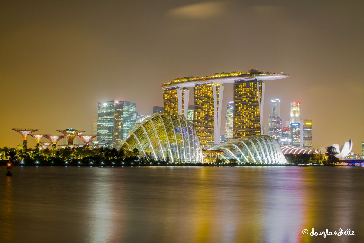 View of Marina Bay Sands and Gardens by the Bay, Singapore