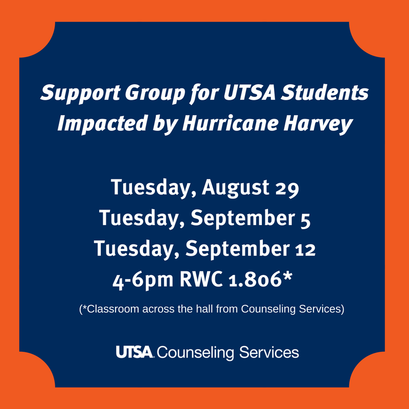 Roadrunners, if you're struggling emotionally with #Harvey's impact, please attend one of these support group sessions. You are not alone. https://t.co/cMkOV9yTui
