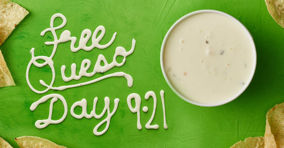 PSA: Free Queso Day is Sept. 21 RT to save a life https://t.co/nXftq7mLxy