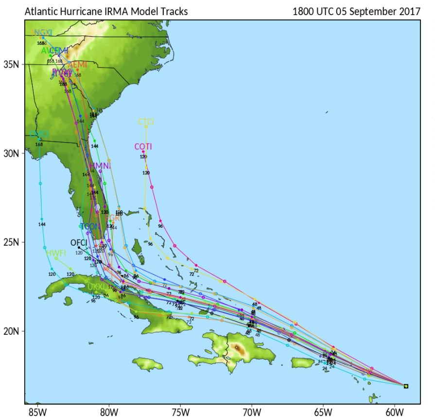 Spaghetti Models On Hurricane Irma Focus A Lot Of Attention Florida And Then Georgia