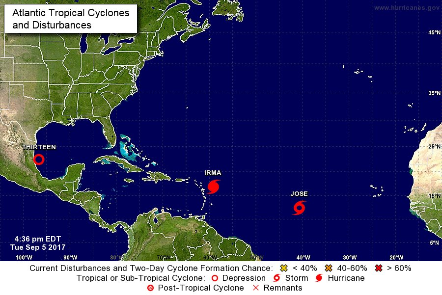 Tropical Depression 13 has formed in the Gulf of Mexico. Expected to make landfall in Mexico as #Katia this weekend. https://t.co/yU1e4kl5gT