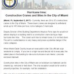 Important information regarding construction cranes and sites in #Miami, especially if you live in a high-rise building. #HurricaneIrma
