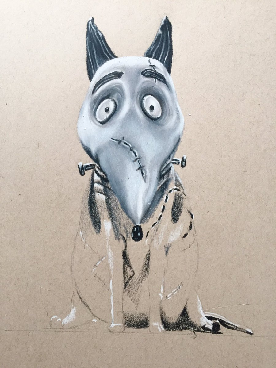 Renate On Twitter My New Project Frankenweenie Art Drawing Timburton Frankenweenie Dog Movie