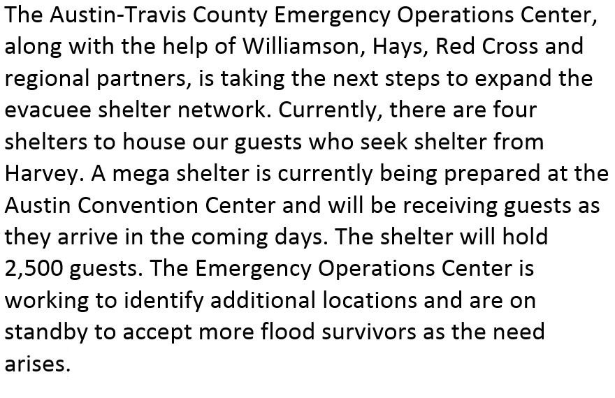 Mega shelter to open in Austin #Harvey https://t.co/o0lzwqS5yt