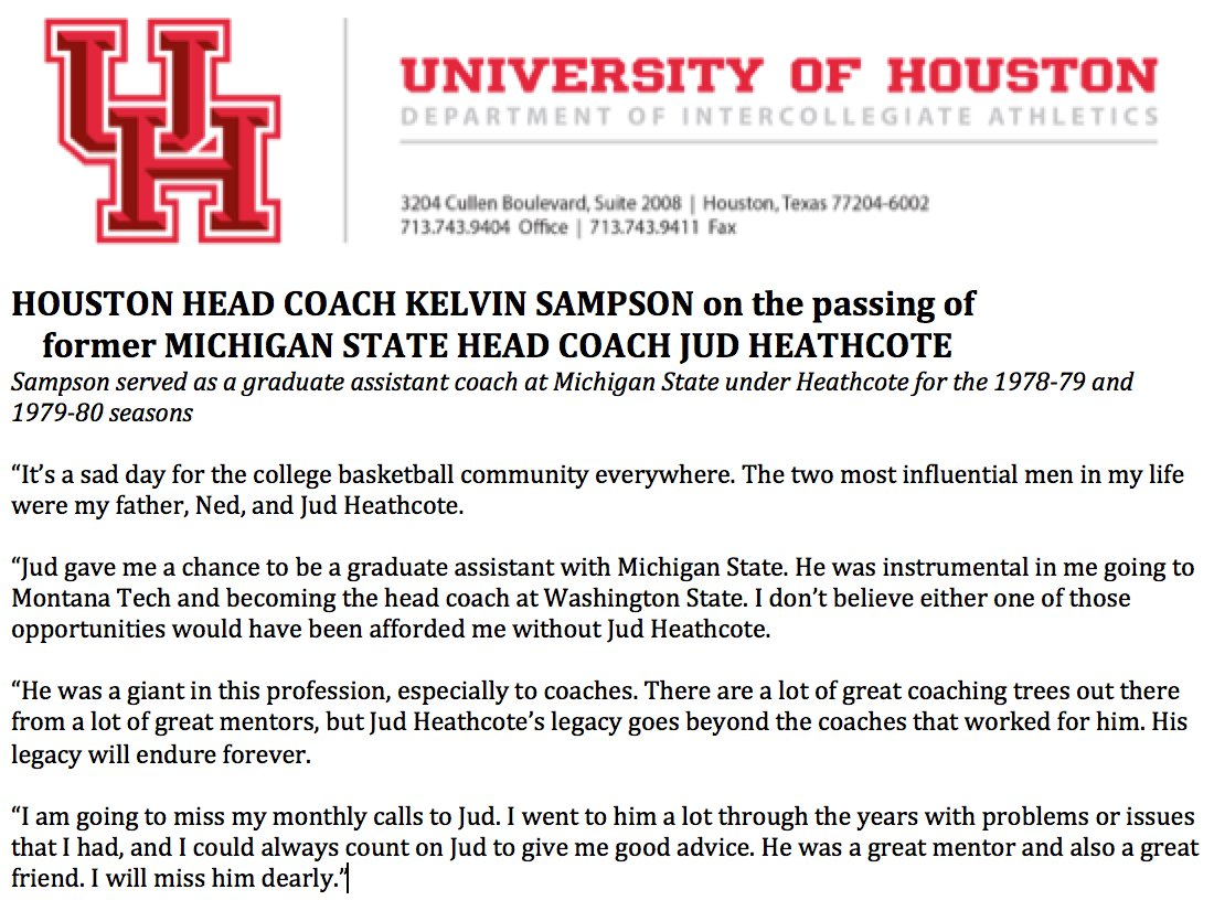CoachSampsonUH shared thoughts about legendary  MSU Basketball Coach Jud  Heathcote   the impact on his life  RIPCoachHeathcote  pic.twitter.com LHSF6bodGE bc6f3b25d64