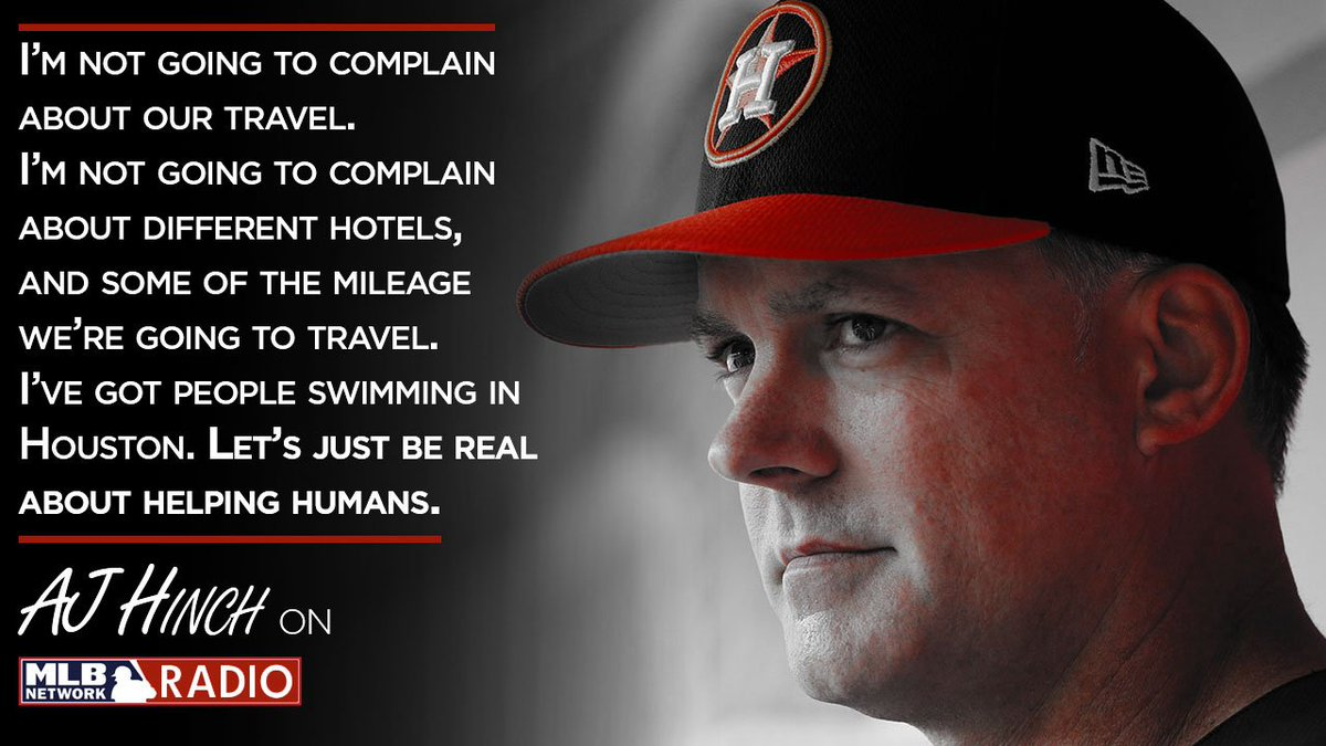 #Astros manager AJ Hinch: Where we play is the least of our concerns.