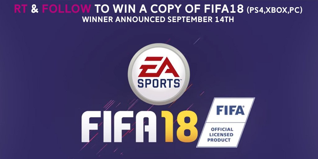 Im giving away a copy of FIFA18 on September 14th. Just RT & Follow to be in the draw to win! https://t.co/zX3Y9a3XqV