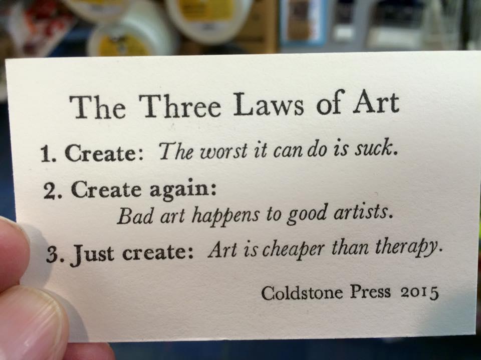 The 3 laws of art...  #art #create #creativity #behappy #smile #Peace https://t.co/rn5OoUyvKL