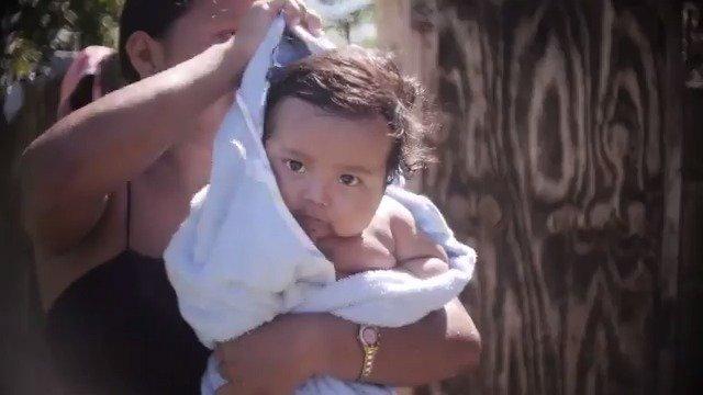 Splish, splash! 💧 Baby MJ is taking a bath in #Belize. #ForEveryChild, clean water.