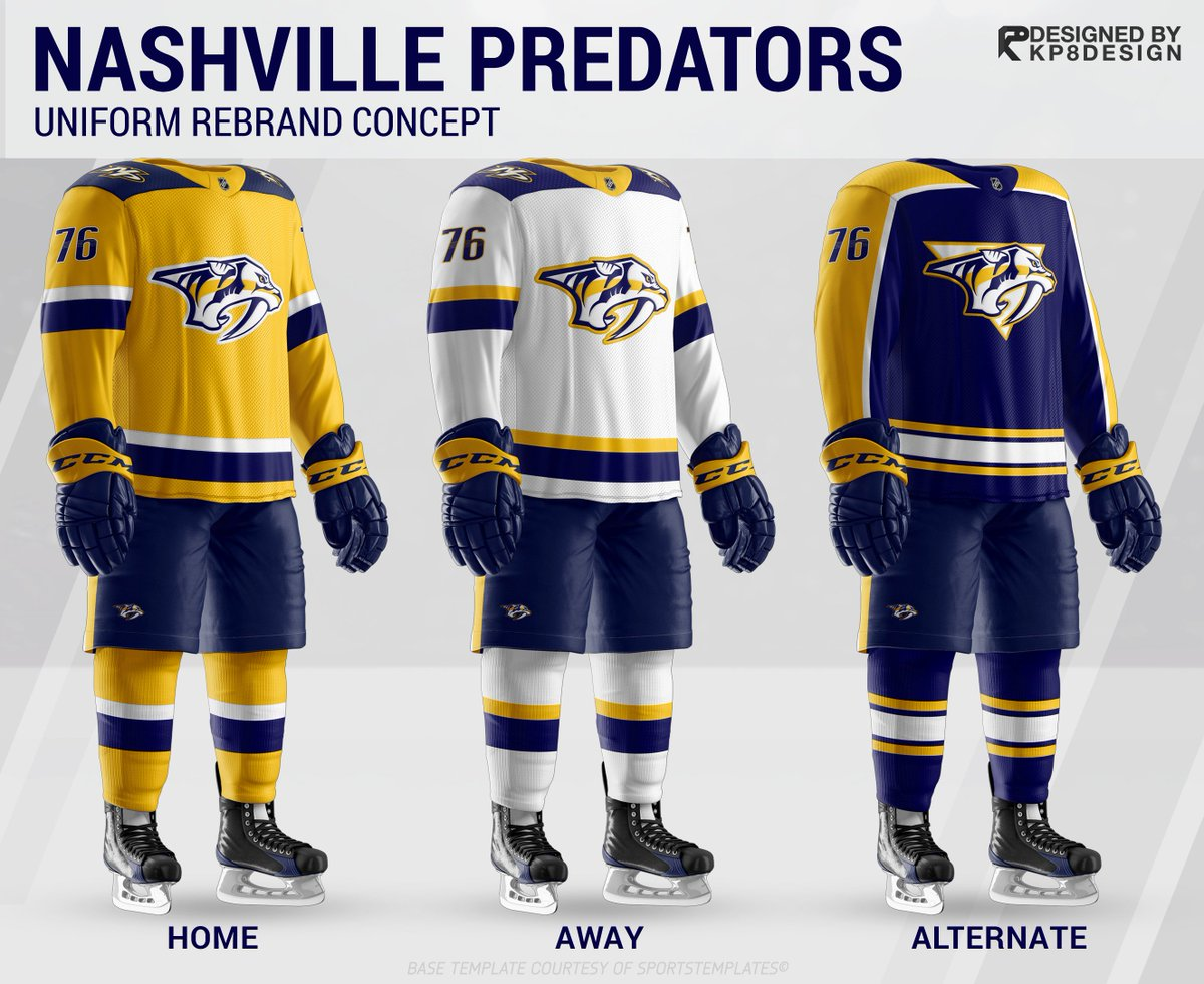 60e30782c Here is my complete Nashville Predators uniform revamp. Home, away and  alternate jersey concepts. Really happy with how this turned out.pic.twitter.com/  ...