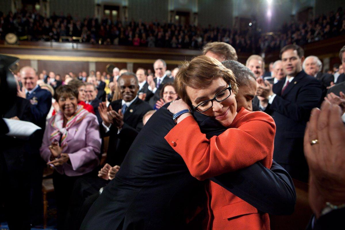 Barack Obama with Gabby Giffords, innocent victim of gun violence.