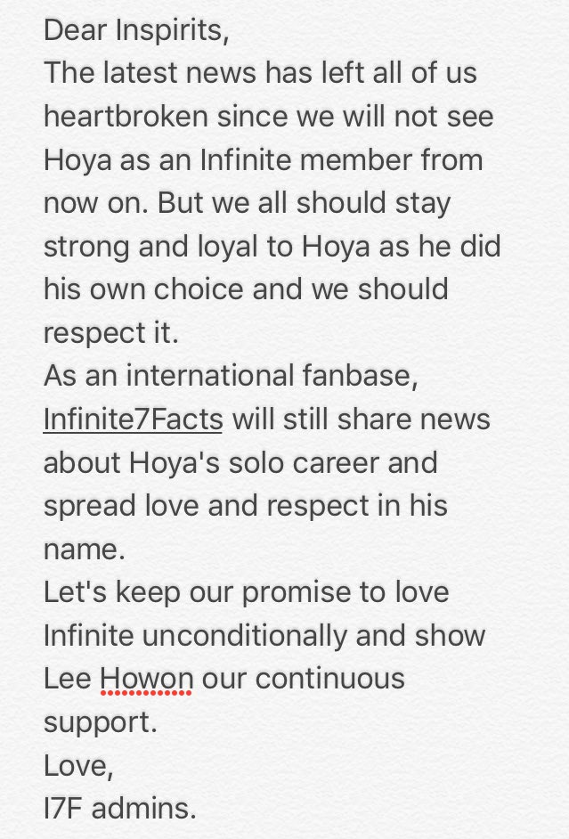 [!!!] Announcement from I7F fanbase regarding the latest news about Hoya and Infinite. #호원아_고생했어_사랑해 https://t.co/nTWZamFCq1