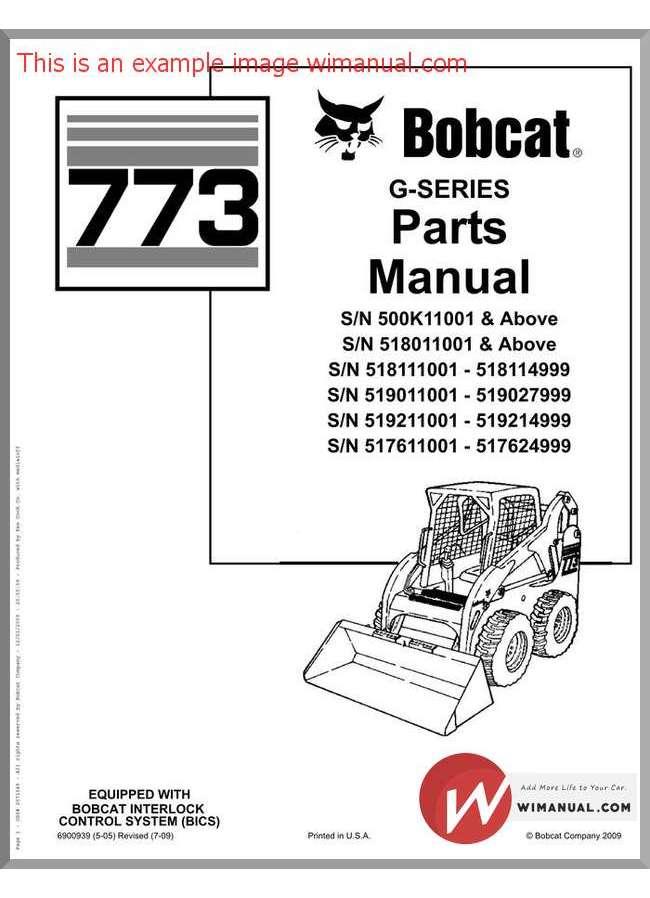 Bobcat excavator parts Manual