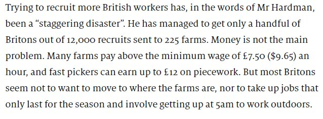 'staggering disaster'  In *shocking* news, it turns out Brits don't want to work on farms.   https://t.co/LC29rbd5GE