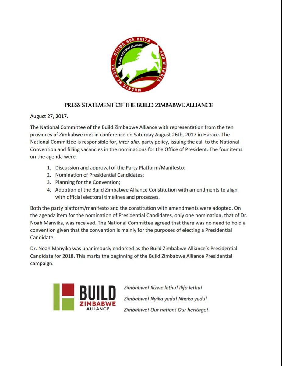 Build Zimbabwe Alliance on Twitter: