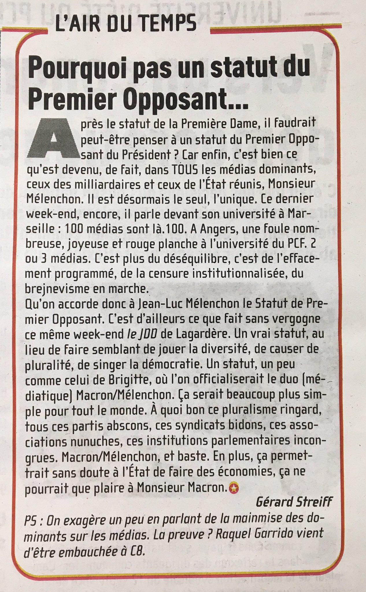 Billet anti-Melenchon dans Communistes, supplément hebdo édité par le @PCF et encarté dans L'Humanité. #Ambiance https://t.co/PVzrnjkBQ6