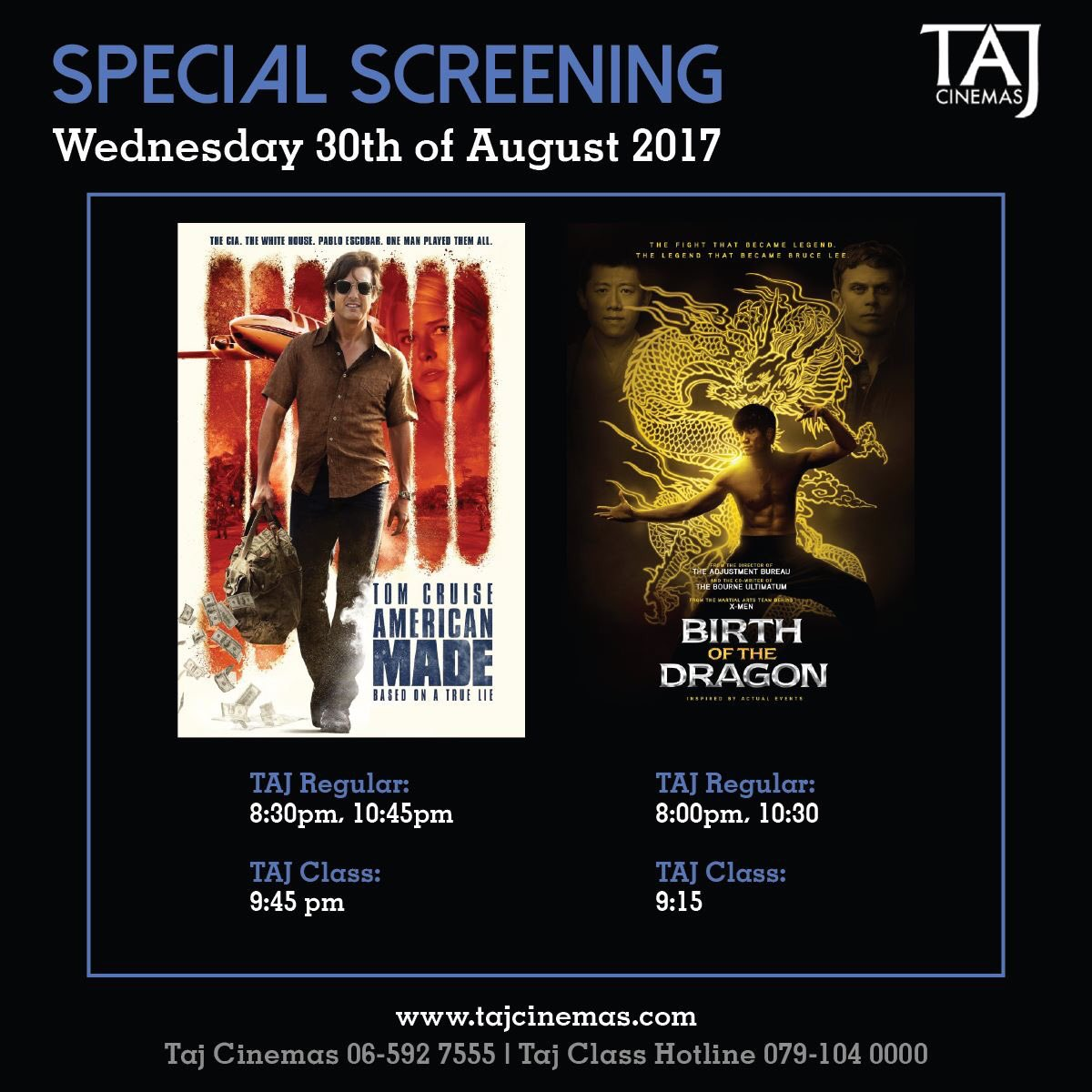 Do not miss out on our special screenings today! Be the first to watch these movies and double your loyalty cards points. #TAJCinemas #Jo https://t.co/KnbXja9laQ
