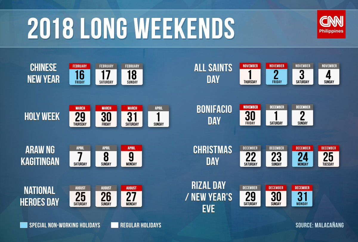 Weekends and holidays in 2018 66