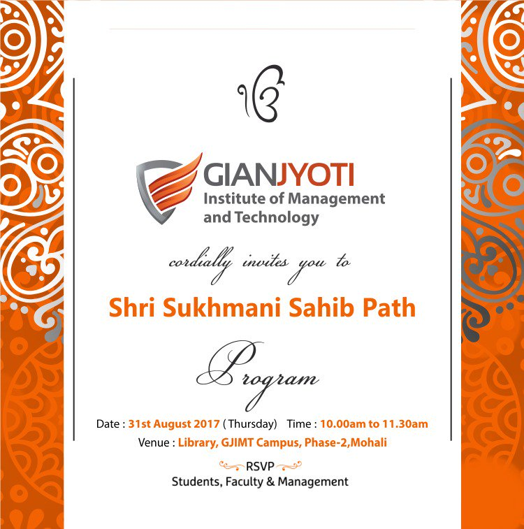 Gjimt Mohali On Twitter Gjimtmohali Cordially Invites You To Shri