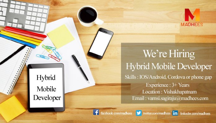 We are Looking for a Candidate who is Expertise in #IOS #Android #PhoneGap with #3Years of Experience. #MobileDeveloper #Madhees #Vizag<br>http://pic.twitter.com/aEDEJhPhnh